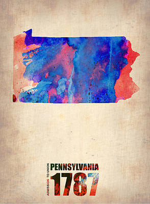Modern Poster Painting - Pennsylvania Watercolor Map by Naxart Studio