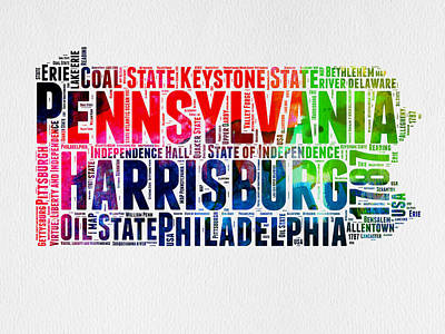 Philadelphia Wall Art - Digital Art - Pennsylvania Watercolor Word Cloud Map  by Naxart Studio
