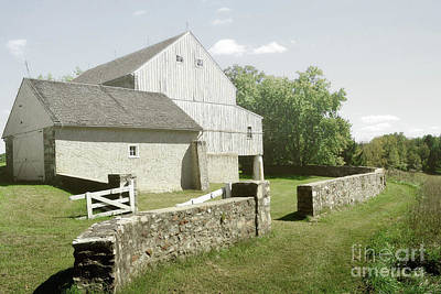 Photograph - Pennsylvania White Barn Countryside Trees by Andrea Hazel Ihlefeld