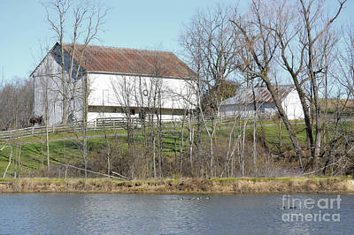 Photograph - Pennsylvania White Barn Lake by Andrea Hazel Ihlefeld