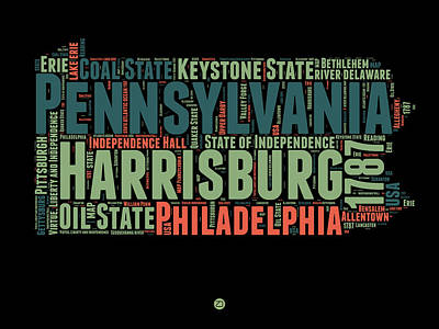 Pennsylvania Digital Art - Pennsylvania Word Cloud Map 1 by Naxart Studio