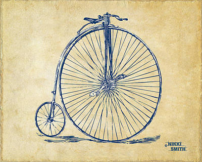 Bikes Drawing - Penny-farthing 1867 High Wheeler Bicycle Vintage by Nikki Marie Smith