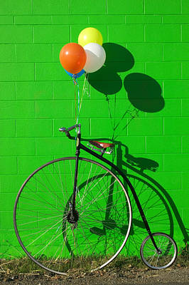 Leaning Photograph - Penny Farthing Bike by Garry Gay