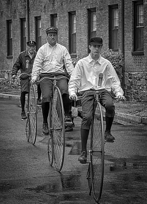Photograph - Penny Farthing Bikes Bw by Rick Mosher