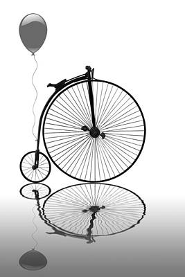 Photograph - Penny Farthing Reflections Mono by Gill Billington