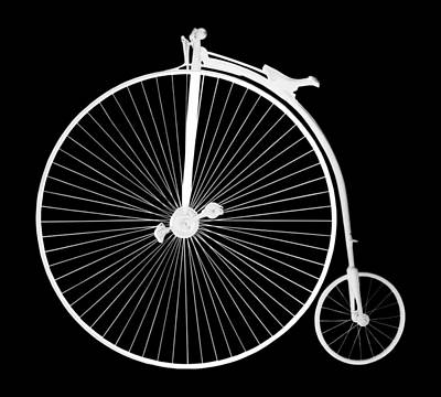 Photograph - Penny Farthing White On Black by Gill Billington