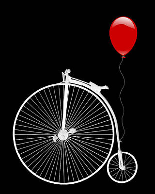 Photograph - Penny Farthing With Red Balloon On Black by Gill Billington