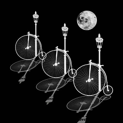 Photograph - Penny Farthings Moonlight And Shadows by Gill Billington