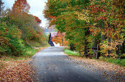 Photograph - Penny Lane Vermont Fall Colors by Jeff Folger