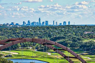 Pennybacker Bridge With Skyline Art Print by Tod and Cynthia Grubbs