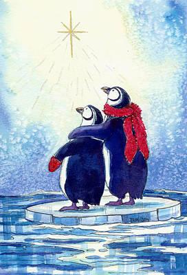 Penquins An Christmas Star Original by Peggy Wilson