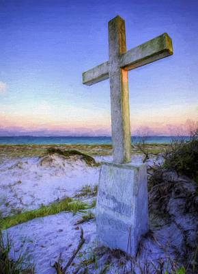 Pensacola Beach Cross Art Print by JC Findley