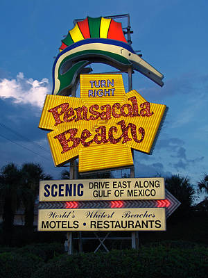 Pensacola Beach Sign At Sunset Original