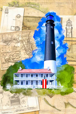Mixed Media - Pensacola Lighthouse - Florida Nostalgia by Mark Tisdale