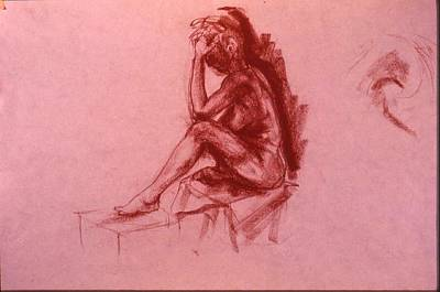 Male Nude Drawing Drawing - Pensee by Chris  Riley