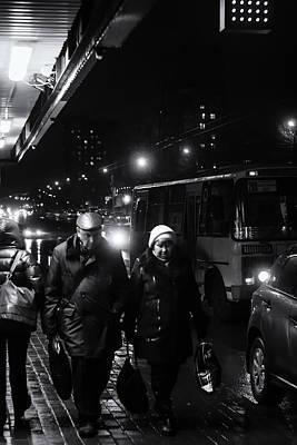 Photograph - Pensioners Walking At Night Ufa Russia 2015 by John Williams