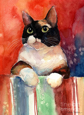 Watercolor Pet Portraits Painting - Pensive Calico Tubby Cat Watercolor Painting by Svetlana Novikova