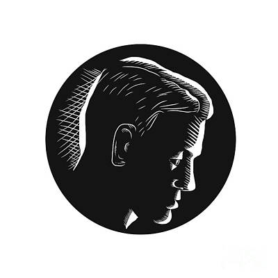 Meditative Digital Art - Pensive Man In Deep Thought Circle Woodcut by Aloysius Patrimonio