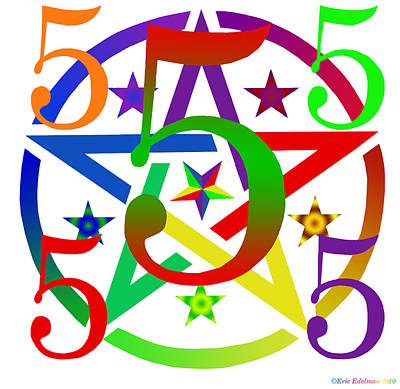 Penta Pentacle White Art Print by Eric Edelman