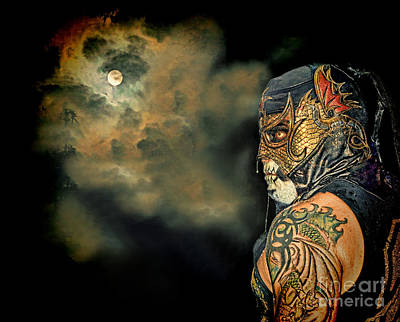 Photograph - Pro Wrestler Pentagon Jr On A Full Moon by Jim Fitzpatrick