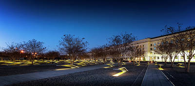 Photograph - Pentagon Memorial Blue Hour by Ryan Wyckoff