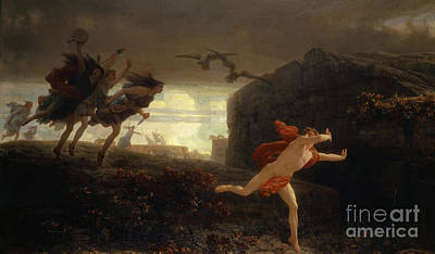 The Followers Painting - Pentheus Pursued By The Maenads by Charles Gleyre