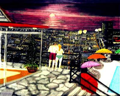 Matting Painting - Penthouse View by Larry E Lamb