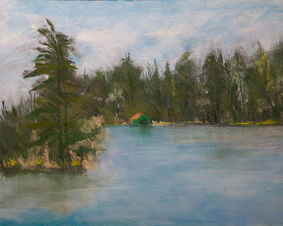 Boathouse Painting - Penwood On Fourth Lake by David Patterson