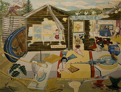 Spinach Painting - Penzance - A Beach Holiday Home In The 1960 by Carrie Beehan