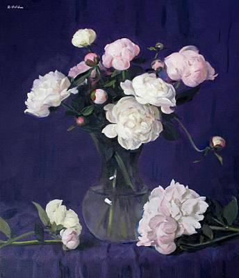 Painting - Peonies Against Deep Blue Background by Robert Holden
