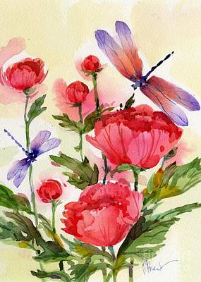 Dragonflies Painting - Peonies And Dragonflies by Paul Brent