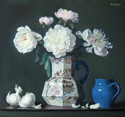 Painting - Peonies And Garlic Bulbs by Robert Holden