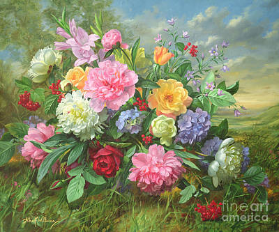 Spring Landscape Painting - Peonies And Hydrangea by Albert Williams