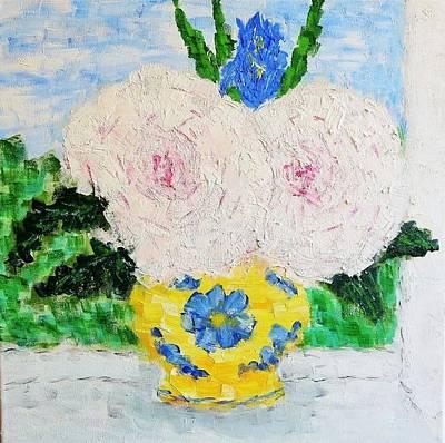Peonies And Iris On The Window. Art Print