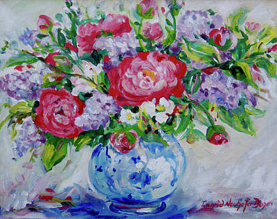 Painting - Peonies And Lilacs by Ingrid Dohm