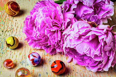 Photograph - Peonies And Marbles by Garry Gay