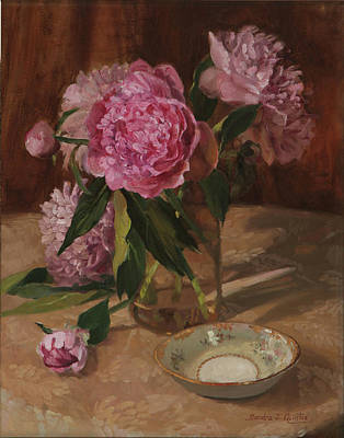 Glass Oil Dish Painting - Peonies And Noritaki by Sandra Quintus