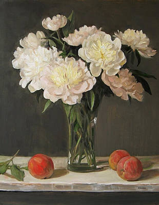 Painting - Peonies And Peaches On A Ledge by Robert Holden