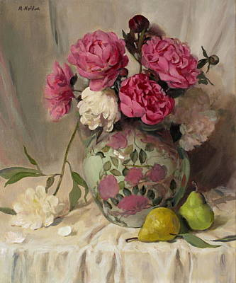 Painting - Peonies And Pears In Floral Design Vase by Robert Holden