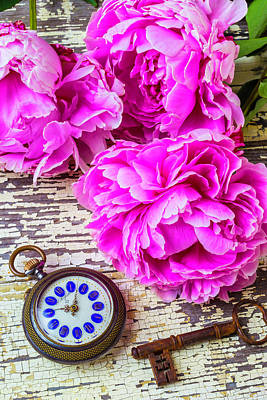 Photograph - Peonies And Pocket Watch by Garry Gay