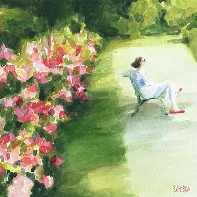 Peony Painting - Peonies And Red Shoes Parc De Bagatelle by Beverly Brown