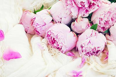 Peonies And Wedding Dress Art Print