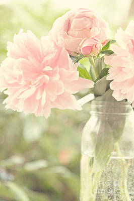 Peonies In A Mason Jar Art Print