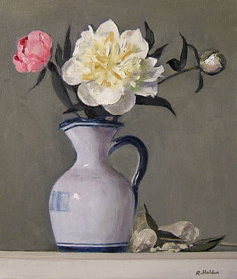 Painting - Peonies In A Spanish Oil Pitcher by Robert Holden