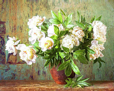Digital Art - Peonies In A Vase by Sandra Selle Rodriguez
