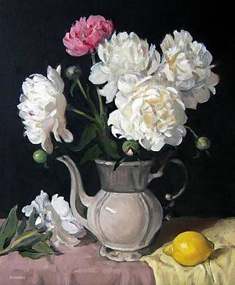 Painting - Peonies In Bavarian Coffeepot With Lemon  by Robert Holden