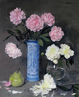 Snifter Painting - Peonies In Tall Blue And White Chinese Vase by Robert Holden