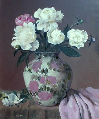 One Pink And Four White Peonies, Lavender Cloth  Art Print