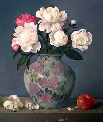 Peonies In Floral Vase With Red Apple Art Print