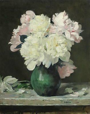 Painting - Peonies In Full Bloom In Green Earthenware Vase by Robert Holden